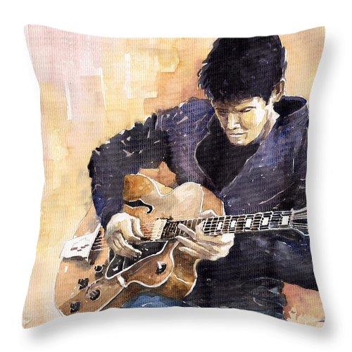Gutarist Impressionist Instrument Jazz John Legend Mayer Music Musician Portret Rock Watercolour Throw Pillow featuring the painting Jazz Rock John Mayer 02 by Yuriy Shevchuk