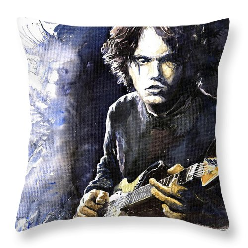 Jazz Throw Pillow featuring the painting Jazz Rock John Mayer 03 by Yuriy Shevchuk