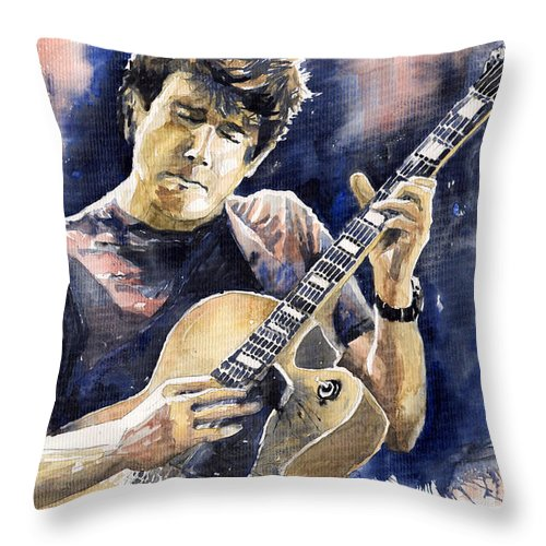 Gutarist Throw Pillow featuring the painting Jazz Rock John Mayer 06 by Yuriy Shevchuk