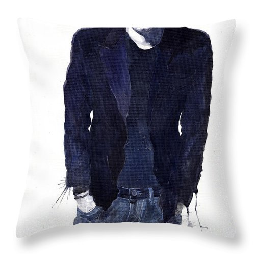 Jazz Throw Pillow featuring the painting Jazz Rock John Mayer 07 by Yuriy Shevchuk