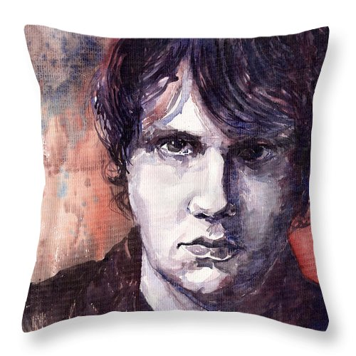 Jazz Throw Pillow featuring the painting Jazz Rock John Mayer by Yuriy Shevchuk