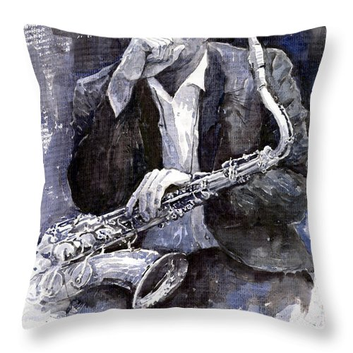 Jazz Throw Pillow featuring the painting Jazz Saxophonist John Coltrane Black by Yuriy Shevchuk