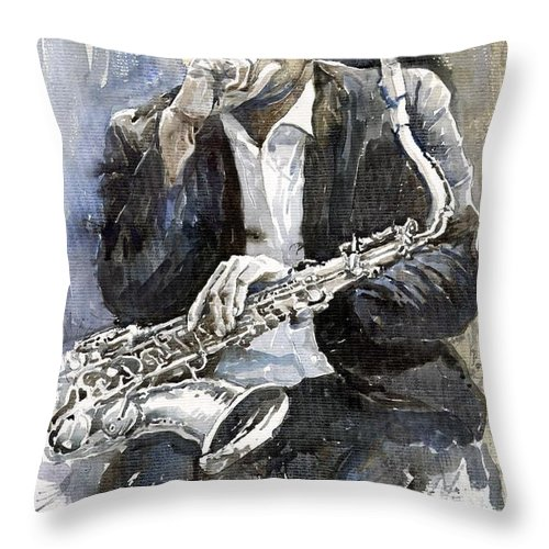 Jazz Throw Pillow featuring the painting Jazz Saxophonist John Coltrane yellow by Yuriy Shevchuk