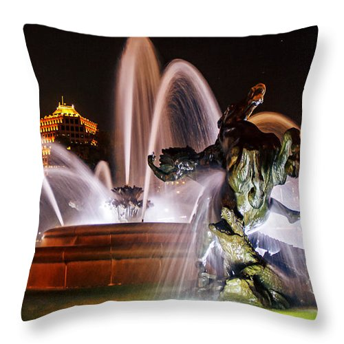 J.c. Nichols Memorial Fountain Throw Pillow featuring the photograph J.c. Nichols Memorial Fountain - Night by Kevin Anderson