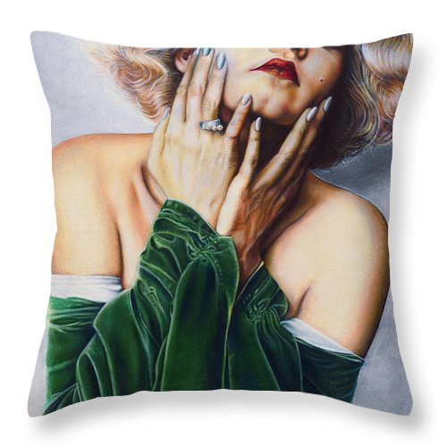 Jean Harlow Throw Pillow featuring the drawing Jean Harlow @ Ariesartist.com by AriesArtist Com
