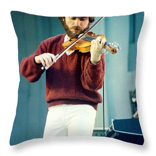 Jean Luc Ponty Throw Pillow featuring the photograph Jean Luc Ponty At The Greek Theater In Berkeley Ca 1980 by Daniel Larsen