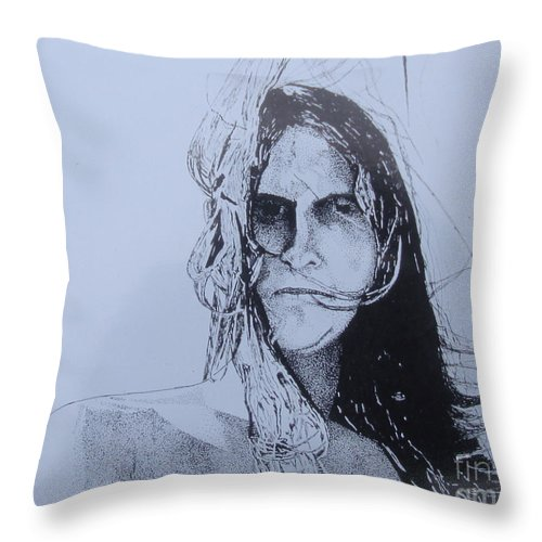 Pen And Ink Throw Pillow featuring the drawing Jeff by Stuart Engel