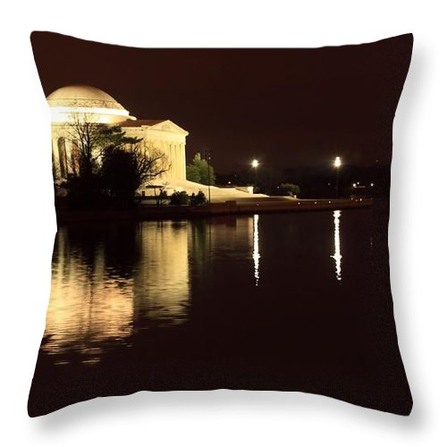 Washington Throw Pillow featuring the photograph Jefferson Memorial From Across The Tidal Pool by Robert McCulloch