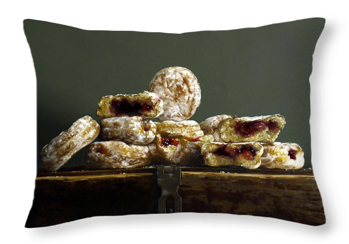 Donuts Throw Pillow featuring the painting Jelly Donuts by Lawrence Preston