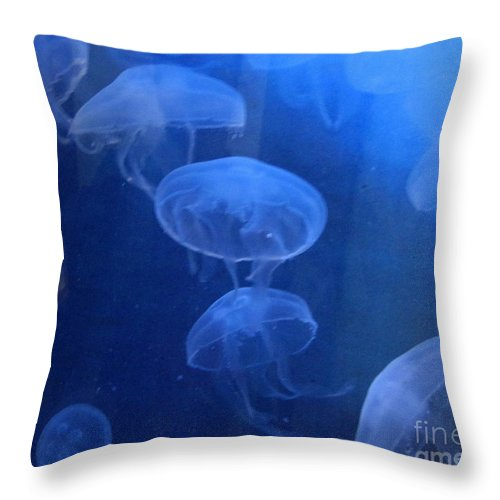 Jelly Fish Throw Pillow featuring the photograph Jellyfish  #0547 by J L Woody Wooden