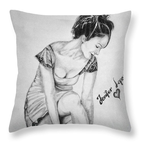 Jennifer Lopez Throw Pillow featuring the drawing Jeniffer Lopez by Alban Dizdari