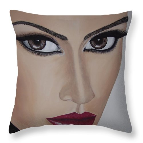Actress Throw Pillow featuring the painting Jennifer Lopez by Dean Stephens