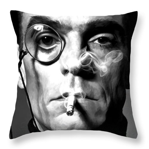 Jeremy Irons Throw Pillow featuring the digital art Jeremy Irons Portrait by Gabriel T Toro