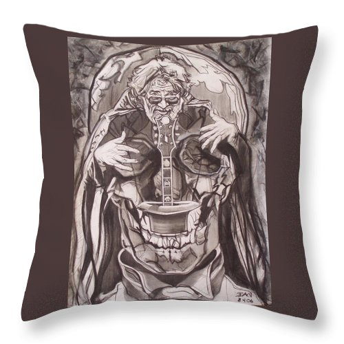 Charcoal Throw Pillow featuring the drawing Jerry Garcia . . Magic Is What We Do - Music Is How We Do It by Sean Connolly