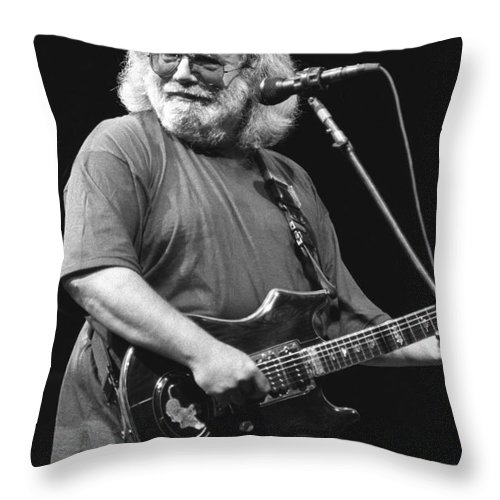 Musician Jerry Garcia Throw Pillow featuring the photograph Jerry Garcia Band by Concert Photos