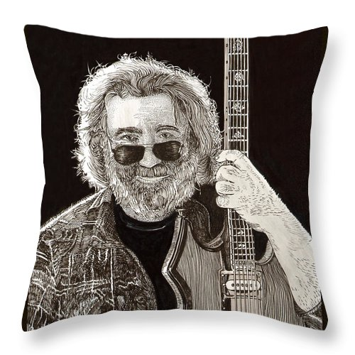 Thank You For Buying A 72 X 48 Canvas Print Of Jerome John Jerry Garcia Who Was An American Musician Who Was Best Known For His Lead Guitar Work Throw Pillow featuring the drawing Jerry Garcia String Beard Guitar by Jack Pumphrey