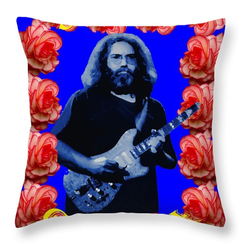 Jerry Garcia Throw Pillow featuring the photograph Jerry In Blue With Rose Frame by Ben Upham