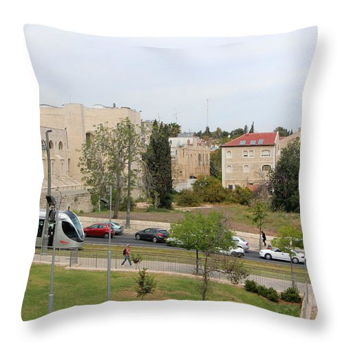 Jerusalem Throw Pillow featuring the photograph Jerusalem Near New Gate by Munir Alawi