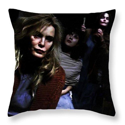 American Horror Story: Asylum Throw Pillow featuring the digital art Jessica Lange as Sister Jude @ TV serie American Horror Story Asylum by Gabriel T Toro