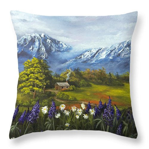 Landscape Throw Pillow featuring the painting Jessy's View by Darice Machel McGuire