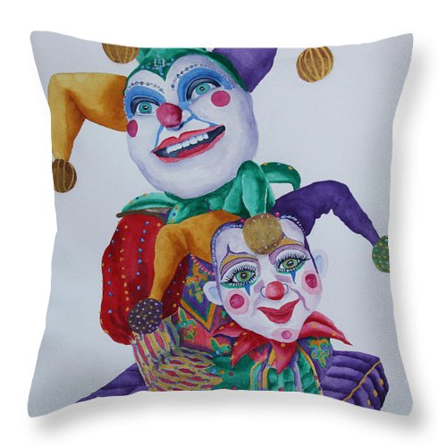 Jesters Throw Pillow featuring the painting Jesters On Bourbon Street by Rhonda Leonard