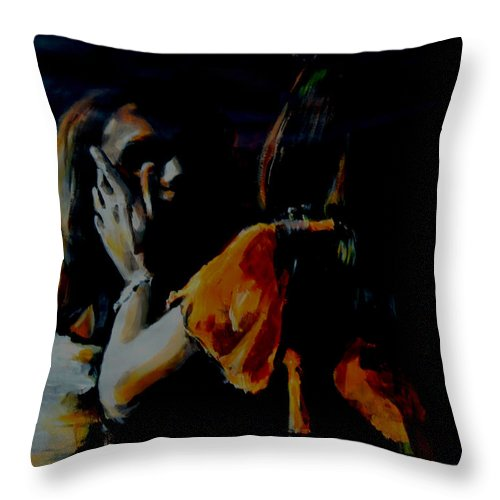 Jesus Christ Superstar Throw Pillow featuring the painting Jesus And Mary by Lucia Hoogervorst