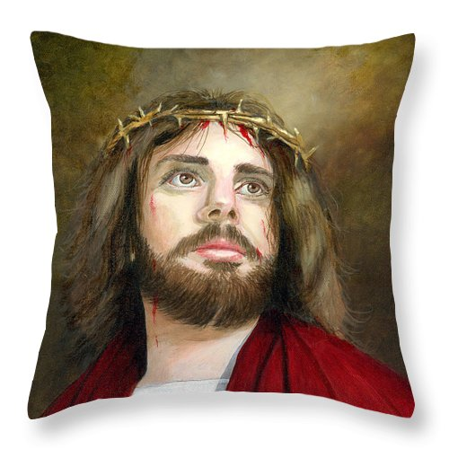 Jesus Of Nazareth With The Crown Of Thorns. Original Oil Painting On Canvas By Cecilia Brendel Religious Art Lord Christ God Rembrandt Vermeer Light Classical Traditional Artist Italian American Art Catholic Christian Holy Son Of Man Son Of God Throw Pillow featuring the painting Jesus Christ Crown Of Thorns by Cecilia Brendel