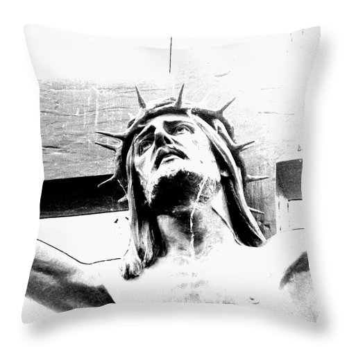 Jesus Throw Pillow featuring the photograph Jesus by Kathy Barney