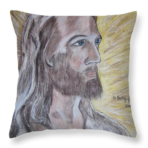 Jesus Throw Pillow featuring the painting Jesus by Kathy Marrs Chandler