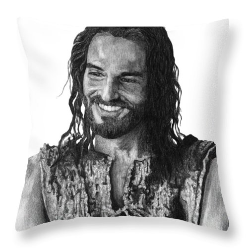 Drawing Throw Pillow featuring the drawing Jesus Smiling by Bobby Shaw