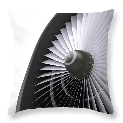 Engine Throw Pillow featuring the photograph Jet Turbine by Klenger