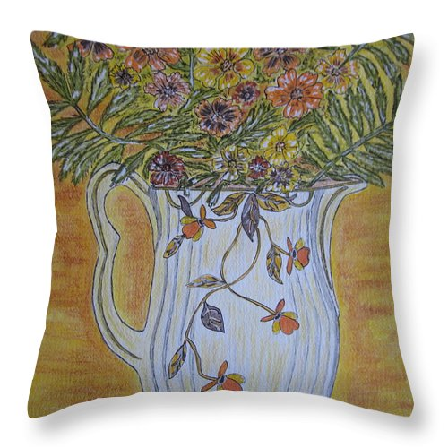 Jewel Tea Throw Pillow featuring the painting Jewel Tea Pitcher With Marigolds by Kathy Marrs Chandler