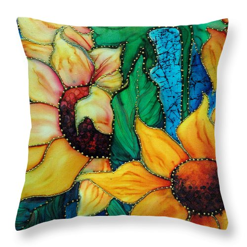 Silk Painting Throw Pillow featuring the painting Jeweled Sassy Sunflowers by Francine Dufour Jones