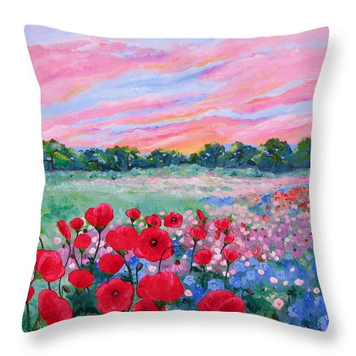 Landscape Throw Pillow featuring the painting Jeweled Sunset by Linda Rauch