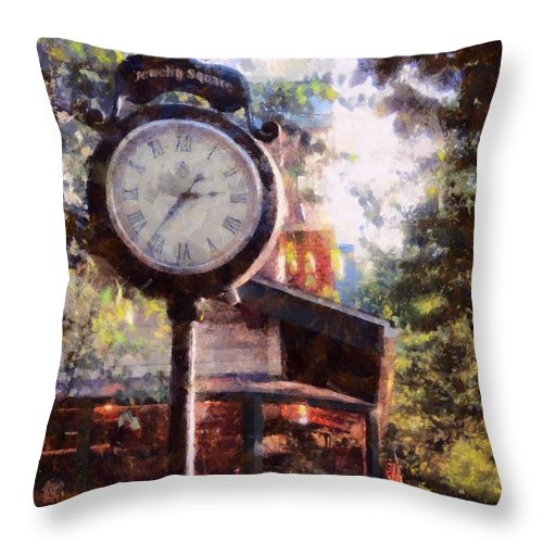 Milford Pa Throw Pillow featuring the photograph Jewelry Square Clock Milford by Janine Riley