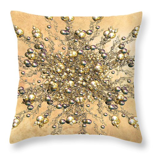 Abstract Throw Pillow featuring the digital art Jewels In The Sand by Georgiana Romanovna