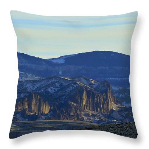 Jim Mountain Throw Pillow featuring the photograph Jim Mountain Lava Field  #9037 by J L Woody Wooden