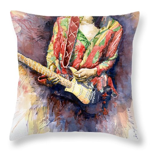 Watercolor Throw Pillow featuring the painting Jimi Hendrix 09 by Yuriy Shevchuk