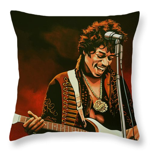 Jimi Hendrix Throw Pillow featuring the painting Jimi Hendrix Painting by Paul Meijering