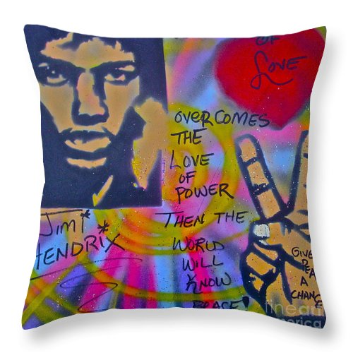 Jimi Hendrix Throw Pillow featuring the painting Jimi Power by Tony B Conscious