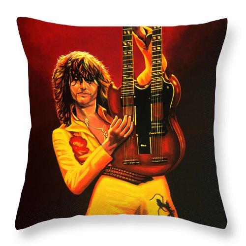 Jimmy Page Throw Pillow featuring the painting Jimmy Page Painting by Paul Meijering