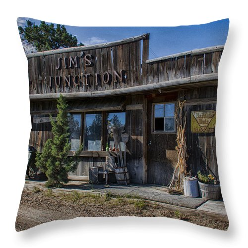 Store Throw Pillow featuring the photograph Jim's Junction Storefront by Erika Fawcett
