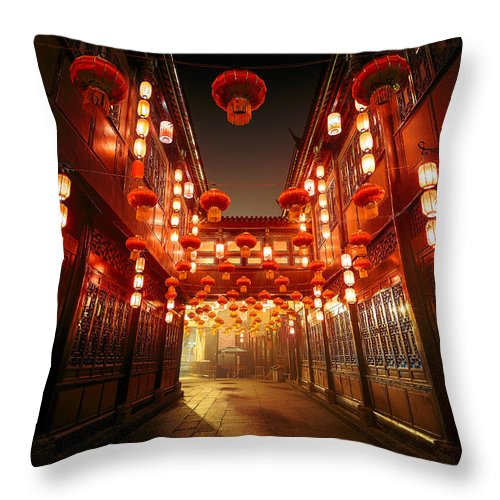 Chinese Culture Throw Pillow featuring the photograph Jinli Street, Chengdu, Sichuan, China by Kiszon Pascal