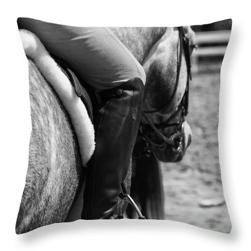 Horse Throw Pillow featuring the photograph Jockey by Joel Bourgoin