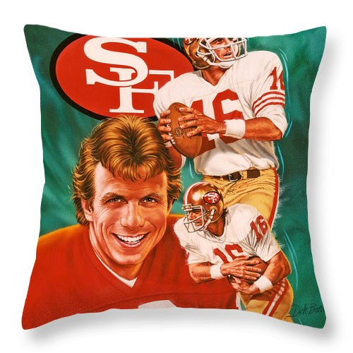 Sports Throw Pillow featuring the photograph Joe Montana by Dick Bobnick