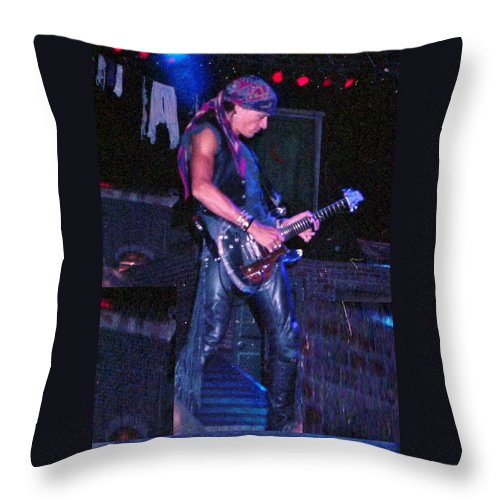 Aerosmith Throw Pillow featuring the photograph Joe Perry by Sheryl Chapman Photography