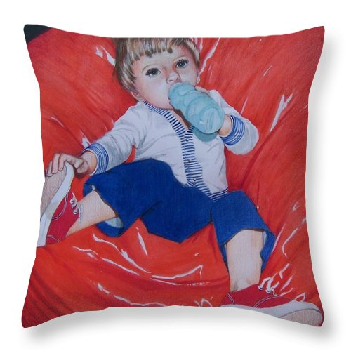Boy Throw Pillow featuring the mixed media Joey by Constance Drescher