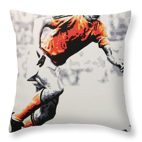 Johan Cruyff Throw Pillow featuring the painting Johan Cruyff - Holland by Geo Thomson