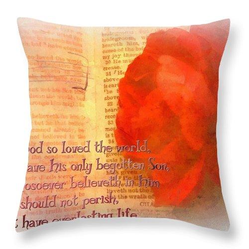 Verse Throw Pillow featuring the digital art John 3 16 Floral by Michelle Greene Wheeler
