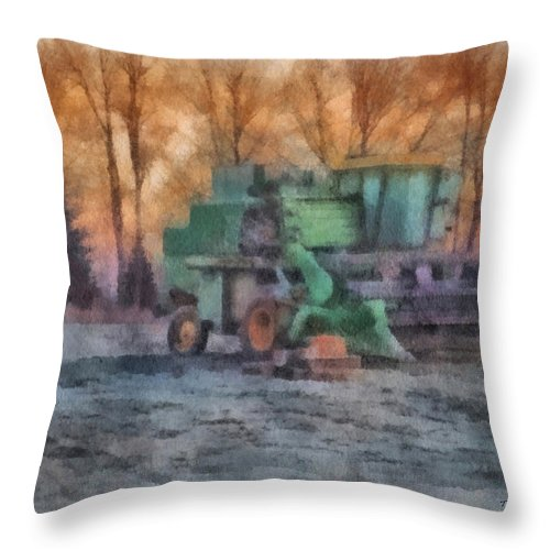Equipment Throw Pillow featuring the photograph John Deere Photo Art 01 by Thomas Woolworth